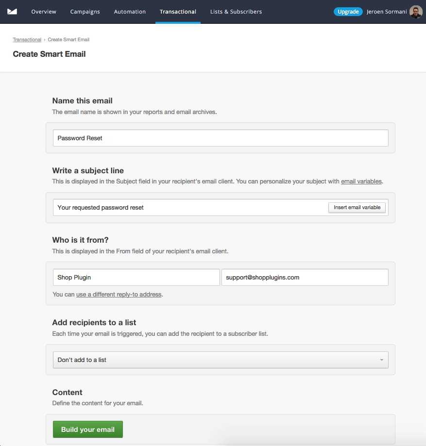 Campaign Monitor transactional email settings