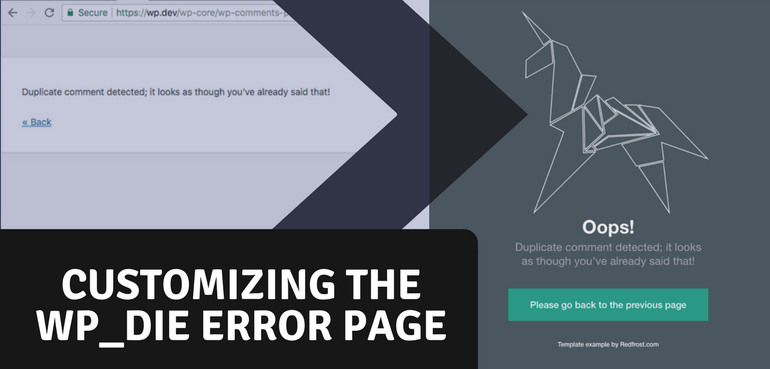 Customizing the WP Die Page (Default Error Page)
