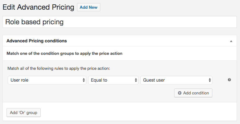 Guest user pricing condition