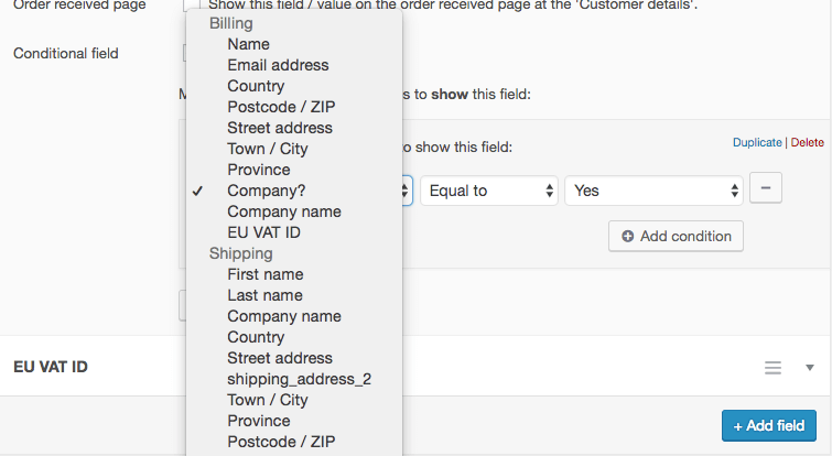 Setting up conditional checkout fields in WooCommerce - Ace