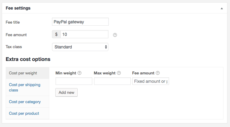 WooCommerce Payment Gateway Fee Settings