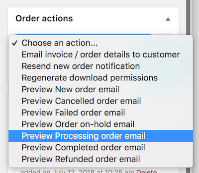 Order action list with 'Preview {type} email' options