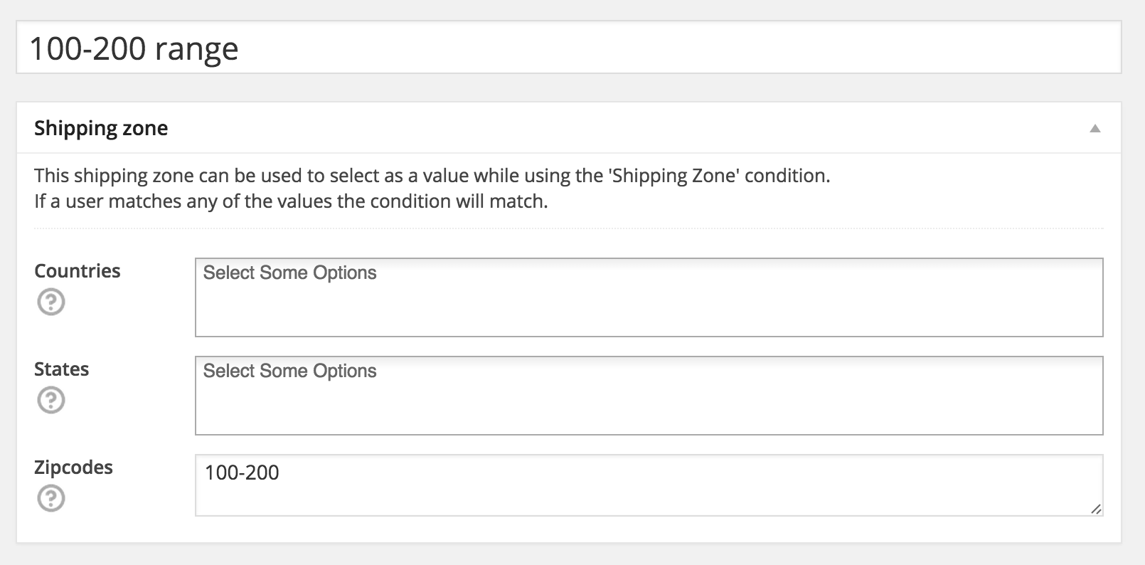 WooCommerce Shipping Zone example